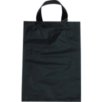 Black Plastic Bag with Soft Handle - Small