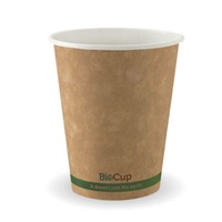 Bio Kraft Single Wall Coffee Cup 12oz Green Stripe