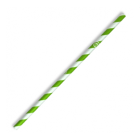 Regular Paper Straw - Green Stripe