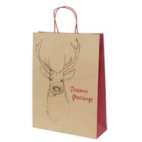 Xmas Stag Kraft Paper Bag - Midi Boutique, 100 pcs