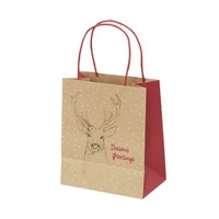 Xmas Stag Kraft Paper Bag - Toddler, 100 pcs
