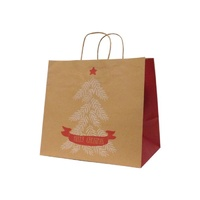 Xmas Tree Kraft Paper Bag - Wide Gusset, 100 pcs