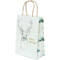 Xmas Stag White Paper Bag - Junior, 100 pcs