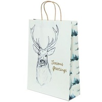 Xmas Stag White Paper Bag - Midi Boutique, 100 pcs