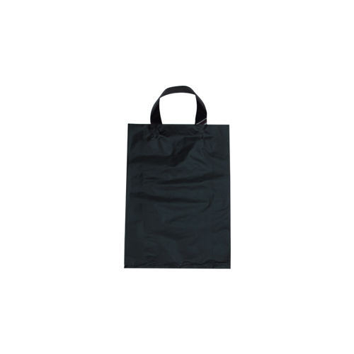 Black Plastic Bag with Soft Handle - Large