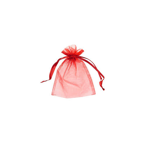 50 x Organza Draw-string Bags Red - Small
