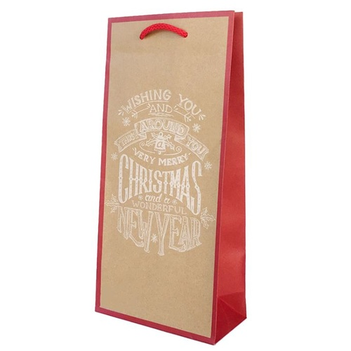 Xmas Banner Kraft Double Wine Bag, 100 pcs