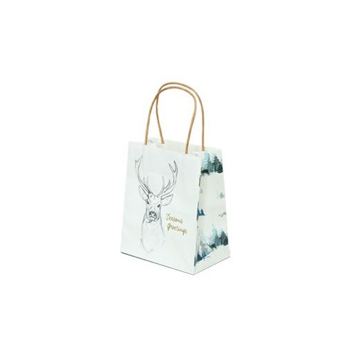 Xmas Stag White Paper Bag - Toddler, 100 pcs